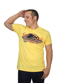 ** SIZE LARGE ONLY ** Harley-Davidson® Mens Flames Screamin Eagle Lightweight Yellow Short Sleeve T-Shirt