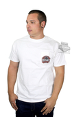 ** SIZE LARGE ONLY ** Harley-Davidson® Mens Banner Badge HDMC B&S Pocket White Short Sleeve T-Shirt