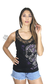Harley-Davidson® Womens Dreah Skull with Roses Lace Panel Black Sleeveless Tank