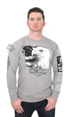 ** MEDIUM & BIG SIZES ONLY ** Harley-Davidson® Mens Eagle Words with Flag Grey Long Sleeve T-Shirt