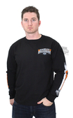 Harley-Davidson® Mens Name Stripe H-D with B&S Black Long Sleeve T-Shirt