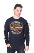 ** SMALL & BIG SIZES ONLY ** Harley-Davidson® Mens Fill Up Oil Trademark B&S Navy Long Sleeve T-Shirt