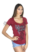 Harley-Davidson® Womens Affection Sparkle Print Open Side Red Short Sleeve T-Shirt