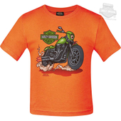 Harley-Davidson® Boys Toddler Monster Bike B&S Orange Short Sleeve T-Shirt