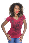 ** SMALL SIZES ONLY ** Harley-Davidson® Womens Locket Studded Detail V-Neck Red Short Sleeve T-Shirt