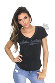 Harley-Davidson® Womens 115th Anniversary Script Mineral Wash V-Neck Black Short Sleeve T-Shirt