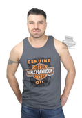 Harley-Davidson® Mens Oil Scratch Trademark B&S Charcoal Sleeveless Tank