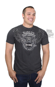 ** SIZE LARGE ONLY ** Harley-Davidson® Mens Stripe Perform Winged B&S Lightweight Coal Short Sleeve T-Shirt