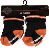 Harley-Davidson® Baby Socks Orange & Black 3Pk