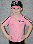 Harley-Davidson® Girls Youth Prestige Woven Pit Crew Short Sleeve Shirt Pink