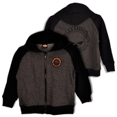 Harley-Davidson® Boys Youth Willie G Skull Full Zip Fleece with Black Sleeves & Hood Charcoal
