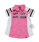 ** BIG GIRL SIZES ONLY ** Harley-Davidson® Girls Youth Glitter Print B&S Pink Short Sleeve Woven Shirt