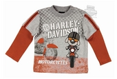 Harley-Davidson® Boys Baby Motorcycle Mock Two-fer Orange Long Sleeve T-Shirt