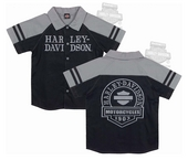 Harley-Davidson® Boys Youth B&S Patch Poplin Shop Black Short Sleeve Shirt