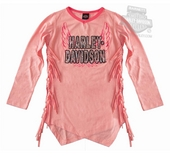 Harley-Davidson® Girls Youth Silver Sequin Applique with Asymmetric Hem Fringe Pink Long Sleeve T-Shirt *18HR*