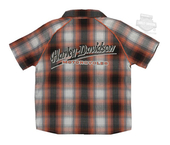 Harley-Davidson® Boys Youth H-D Name Plaid Short Sleeve Woven Shirt