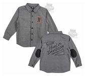 Harley-Davidson® Boys Youth #1 Skull Patched Elbows Grey Long Sleeve Woven Shirt