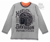 Harley-Davidson® Boys Youth Helmet Graphic Grey Long Sleeve Thermal