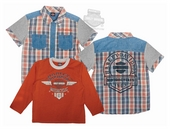 Harley-Davidson® Boys Youth 2 Piece B&S Logo Yarn Dyed Orange Shirt Set *CIJ*