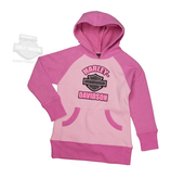 Harley-Davidson® Girls Youth Lace Applique B&S Fleece Pullover Pink Long Sleeve Hoodie