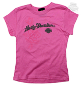 ** SIZE 6/6X ONLY ** Harley-Davidson® Girls Youth Sublimated Roses Hot Pink Short Sleeve T-Shirt