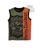 Harley-Davidson® Boys Youth HDMC Skull with Flocking Sleeveless Green Muscle T-Shirt *48HR*