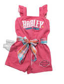 Harley-Davidson® Girls Toddler Glitter Print French Terry with Plaid Sash Pink Romper
