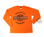 Harley-Davidson® Boys Youth Genuine Legend Trademark B&S Orange Long Sleeve T-Shirt *CIJ*