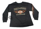 Harley-Davidson® Boys Youth B&S with Flames Black Long Sleeve T-Shirt *CIJ*