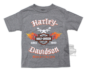 Harley-Davidson® Boys Youth Flames & B&S Grey Short Sleeve T-Shirt