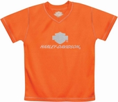 ** BIG BOY SIZES ONLY ** Harley-Davidson® Boys Youth Neon H-D Performance V-Neck Tech Tee Orange