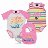 Harley-Davidson® Girls Baby Twin Pack Rainbow Glitter Print with Stripes Creeper with Bibs