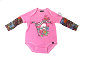 Harley-Davidson® Girls Baby Heart with Banner Tattoo Sleeves Pink Long Sleeve Creeper