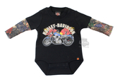 Harley-Davidson® Boys Baby Flaming Motorcycle with Tattoo Sleeves Black Long Sleeve Creeper