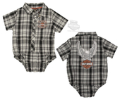 Harley-Davidson® Boys Baby Upwing Eagle with B&S Plaid Short Sleeve Creeper