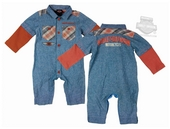 ** SIZE 24M ONLY ** Harley-Davidson® Boys Baby Chambray Denim Blue Long Sleeve Coverall *36H2*