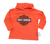 Harley-Davidson® Boys Youth Classic B&S Terry Cloth Orange Long Sleeve Pullover Hoodie