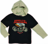 Harley-Davidson® Boys Youth Motorcycle Hooded Doubler Black Long Sleeve T-Shirt