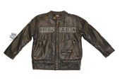 Harley-Davidson® Boys Youth Winged Trademark B&S Distressed Moto Brown Jacket