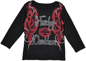 Harley-Davidson® Girls Youth Glitter H-D with Red Print Long Sleeve Tee Black *CIJ*