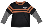 Harley-Davidson® Boys Youth Boys Doubler Long Sleeve Tee with Orange Stripes
