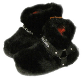 Harley-Davidson® Girls Youth Fuzzy Biker Boot Slippers Black