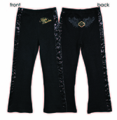 Harley-Davidson® Girls Youth Sequined Trim with Winged B&S Interlock Black Leggings
