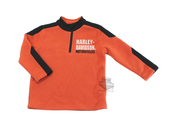 Harley-Davidson® Boys Youth Micro Polar Tech Fleece 1/2-Zip Orange Long Sleeve Sweatshirt