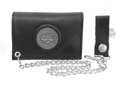 Harley-Davidson® Mens Medallion Trifold Black Leather Chain Wallet