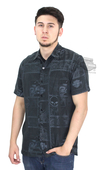 Harley-Davidson® Mens Chain Drive Motorcycle with Willie G Skulls Black Short Sleeve Woven Shirt by Tori Richard®