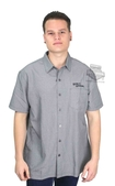 Harley-Davidson® Mens Checked In Yarn Dyed Black Short Sleeve Woven Shirt by Tori Richard®