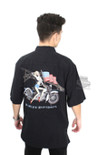 Harley-Davidson® Mens Freedom Motorcycle Pinup with Flag Black Short Sleeve Woven Shirt by Tori Richard®