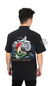 Harley-Davidson® Mens Just For Fins Mermaid with Motorcycle Black Short Sleeve Woven Shirt by Tori Richard®