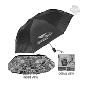 Harley-Davidson® Block H-D Name Retractable Sublimated Nylon Black Umbrella